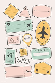 travel icon Travel stickers and badge set vector Journal Stickers, Scrapbook Stickers, Notebook Stickers, Bullet Journal Ideas Pages, Bullet Journal Inspiration, Bullet Journal Calendar Printable, Bullet Journal Travel, Tumblr Stickers, Cute Stickers