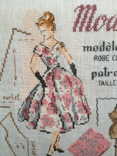 Retro 2, Retro Vintage, Cross Stitch Embroidery, Cross Stitch Patterns, Le Point, Needlepoint, Dame, Needlework, Vintage Fashion