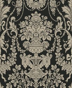 Keswick Urn Damask Black/Pewter Wallpaper by Blue Mountain in Shand Kydd (Double Roll) by Blue Mountain Wallcoverings, http://www.amazon.com/dp/B001Q20ZY2/ref=cm_sw_r_pi_dp_Fr.nqb1PRMS98