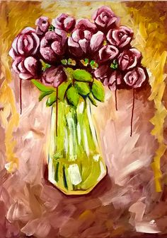 Reign on Rose, abstract, acrylic on canvas painting by Maryam B Kovanen. Reign, Abstract, Canvas, Rose, Painting, Art, Summary, Tela, Art Background