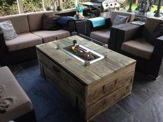 Vuurtafel Block rechthoekig oud hout