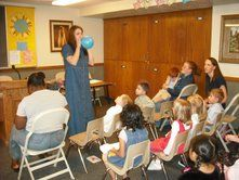 Reviewing a song with a balloon: If a child knows which word comes next when the chorister stops the song, air goes into the balloon. When the balloon is full or at the end of the song, a child gets to choose to pop or release the balloon.