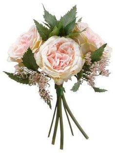 Beautiful cottage rose silk wedding bouquet in pink cream with leafy greenery accents and pink flowers. Place this romantic rose bouquet in a vase for a simple design, or add to a large bouquet for a