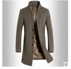 Bravepe Mens Solid Color Lapel Outerwear Autumn Winter Wool Blend Trench Pea Coat Overcoat