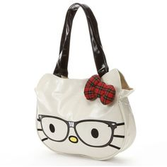 Hello Kitty® Nerds Tote found on Polyvore featuring polyvore, fashion, bags, handbags, tote bags, hello kitty, accessories, bolsas, white tote and plaid handbags