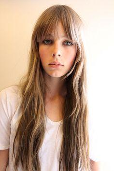 long hair, straight fringe