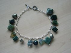 Green Gemstone Charm Bracelet, Silver Plated Chain £16