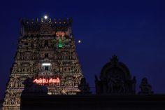 Gopurams after dark at the Kalapeeshwar Temple, Chennai. Image by Vinoth Chandar / CC BY 2.0.