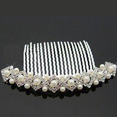 diamantes de imitación perlas preciosas, con la imitación de la boda peines – USD $ 11.79