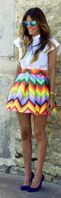 Rebel Attitude Rainbow Chevrons Skirt