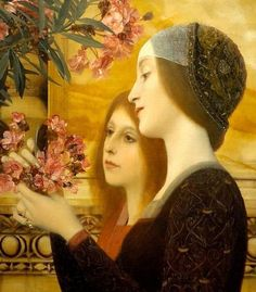 Two girls with an oleander detail by Gustav Klimt