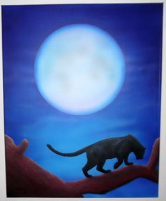 Easy airbrush painting -  panther with moon on canvas