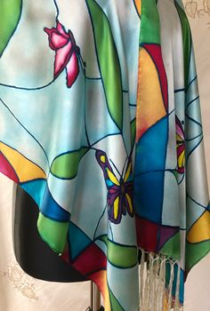 Stained Glass Window Butterflies, hand painted scarf, silk, original design, luxurious pure silk, crepe satin silk, 180 x 45cm, gift for her Silk Art, Silk Painting, Silk Crepe, Stained Glass Windows, Pure Silk, Butterflies, Gifts For Her, Satin, Hand Painted
