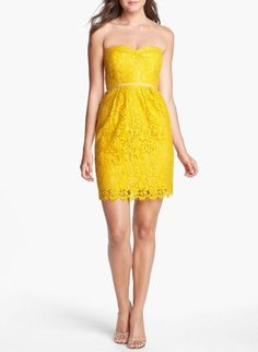 Love this strapless yellow lace sheath dress, for a brightly colored wedding.