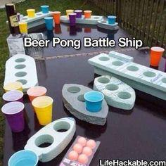 Para tu barbacoa de verano: Haz una versión del beer pong basada en el juego de los barquitos a partir de espuma de poliestireno.