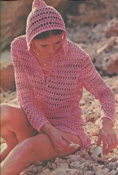 Hooded Beach Cover Up Vintage Crochet Pattern