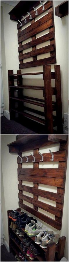 You can now get your hands on recycled pallet woods to make these two projects which are of great use. You can give them similar shade. One can be used to put shoes and the other one can be used to dangle coats. #cheaphomedecor