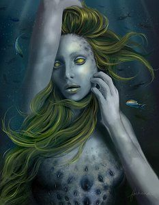 Undine by dewmanna on DeviantArt Undines are soulless water nymphs. In order to obtain a soul, they must seduce a mortal man and and bear his child. Magical Creatures, Fantasy Creatures, Sea Creatures, Dark Mermaid, Mermaid Art, Fantasy Images, Fantasy Art, Tarot, Water People