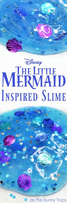 Take a journey under the sea with this The Little Mermaid-inspired slime! Easy DIY recipe and supply list. Great Disney DIY for any Little Mermaid fan.