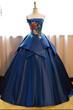 Royal Blue Floor Length Satin Wedding Gown Featuring Floral Embroidered Strapless Straight Across Bodice and Lace-Up Back
