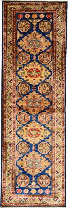 Navy Blue 2' 9 x 8' 8 Geometric Kazak Rug | Oriental Rugs | eSaleRugs
