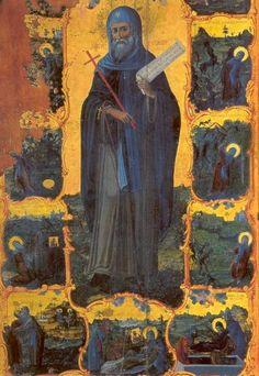 Icon from Crete, Preveli Monastery Byzantine Icons, Byzantine Art, Religious Icons, Religious Art, Anthony The Great, Saint Antony, Old Time Religion, John The Baptist, Effigy
