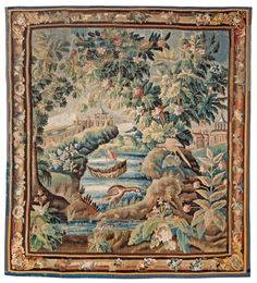 Tapestry, France, probably  Aubusson, 18th century. Verdure with chinoiseries.