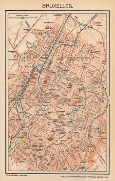 BRUSSELS CITY MAP, Belgium from 1893 by OjiochaPrints on Etsy Antique Maps, Brussels, Belgium, Iphone, Antiques, City, Illustration, Prints, Pictures