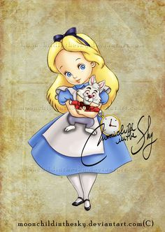 Child Alice, Alice in Wonderland, Disney Princess, Disney Fan Art Walt Disney, Disney Amor, Disney Magic, Alice Disney, Disney Babys, Disney Girls, Disney And Dreamworks, Disney Pixar, Disney Characters