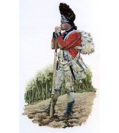 """Guilford Courthouse, 1782 - """"The Royal Welsh Fusiliers advanced, under fire, up a rain sodden ploughed field towards a well entrenched enemy. Breaking through, the Fusiliers fought a close action through brushwood and forest to pursue the broken enemy until exhaustion overcame them."""" Art by Rob Chapman"""