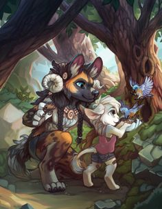 Hyena: Here, look, you feed him like this see?  other animal...uh...thing:Okay, I think I got it!  squee! totes adorbs!