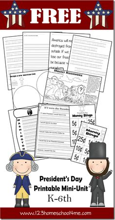 Worksheets for Kids - FREE President's Day Unit for K-6th grade. This is a great history for kids activity for February.  Great for Homeschoolers.