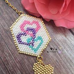 Seed Bead Jewelry, Seed Bead Earrings, Beaded Earrings, Beaded Jewelry, Handmade Jewelry, Girls Jewelry, Heart Jewelry, Necklace Tutorial, Beaded Brooch