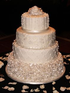 Country Wedding Cakes Classic Ivory Winter Wedding cake with each tier having a different pattern, beautiful and would suit many wedding themes Ivory Wedding Cake, Round Wedding Cakes, Elegant Wedding Cakes, Beautiful Wedding Cakes, Gorgeous Cakes, Wedding Cake Designs, Pretty Cakes, Amazing Cakes, Trendy Wedding