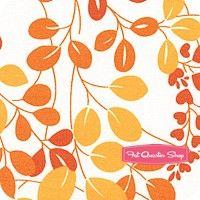 Simply Colorful Orange on White Sprigs Yardage SKU# 10840-20