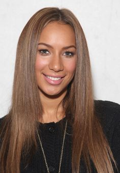 Leona Lewis Long Straight Hair with a Center Parting