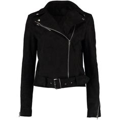 Boohoo Sarah Suedette Biker Jacket (1.067.200 IDR) ❤ liked on Polyvore featuring outerwear, jackets, bomber jacket, puffa jacket, puffy bomber jacket, layered jacket and longline jacket