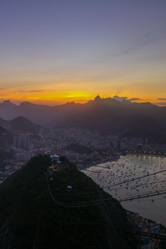Sunset colours from Sugarloaf Mountain, Rio de Janeiro, Brazil
