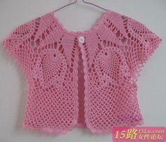 Openwork bolero in a circular yoke for girls with a very good step by step description.