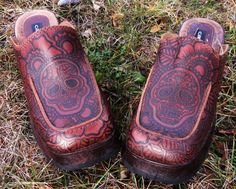 CUSTOM ORDER Mehndi Henna Burned Women's Leather Boots, Clogs, Shoes-- via Etsy.