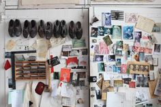 """""""I tend to work on the floor, sometimes on the wall and then on the floor. It's constant movement between the vertical and horizontal... You get the consistency of gravity on the floor.""""  Tony Bevan's studio is in Deptford, London."""