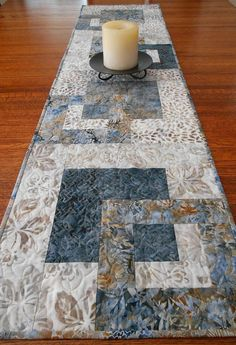 Batik Table Runner in Blue and Brown Quilted Table by susiquilts