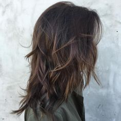 Layered Dark Brown Hair With Highlights