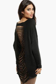 shredded back sweater $58