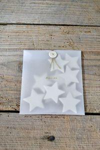 carte de voeux forme étoiles enveloppe transparente