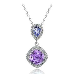 This beautiful dangle pendant features a cushion-cut amethyst with sparkling pear-cut tanzanite stone and round white topaz stones. This classic pendant dangles off an 18-inch rolo chain that secures with a spring ring clasp.