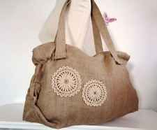 Extra Large Messenger Bag Jute Burlap Bag Summer Shabby Chic Bag Crochet Purse