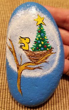 Woodstock from charlie brown Christmas tree painted rock