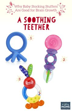 Smart Baby Stocking Stuffers: A Soothing Teether - MightyMoms. Stocking Stuffers For Baby, Baby Stocking, Object Permanence, Ebenezer Scrooge, Starting Solids, Bonding Activities, Pre Writing, Gross Motor Skills, Plastic Animals