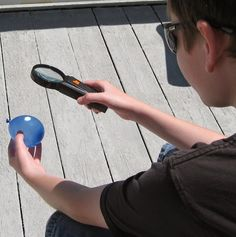 Almost Unschoolers: Summer Fun 2014 - How to Pop a Water Balloon With a Magnifying Glass (Take Science Crafts, Science For Kids, Fun Crafts, Summer Fun List, Summer Time, Sun Projects, Water Balloons, Magnifying Glass, Nature Study
